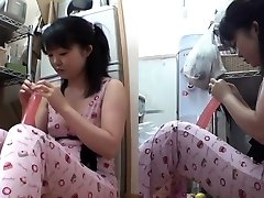Asian teen inserts fake penis