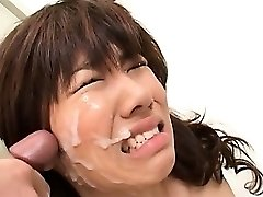 Japanese school blowjob with slutty redhead taking messy facial cumshot