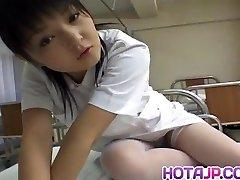 Miku Hoshino nurse fellates fake penis she fucks with