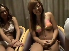2 Japanese girls watching 2 dicks 1 cfnm