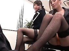 Asian sexy interns playing nasty mistresses with their chief