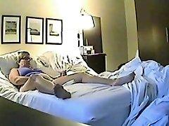 Covert sex web cam filmed a horny minx jilling off