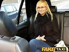 FakeTaxi Blonde with glasses gets chatted into fuck tape