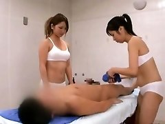 Subtitled CFNM Japanese sauna woman duo penis cleaning