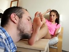 Slave Stepdad Worships Daughter Feet