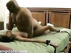 BIG humungous black guy pummel skinny ebony girl.