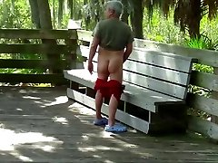 Obese fucks silver daddy outside