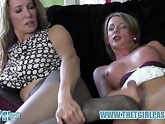 Light-haired transgirl wanks big cock before cuming on hot nylon ass