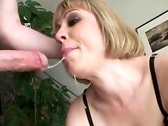 Buxom blondie an sloppy throat face fuck swallow