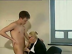 Large dick guy fucks a mature assistant