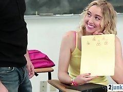 Blonde high school mega-slut fucked rough by a history teacher