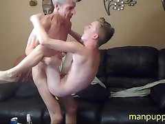FUUUUUUCKED! 18yo Twink Bareback Lift and Carry by 47yo - Manpuppy - Taylor