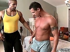 Beefcake black stud fucks muscled gay part1