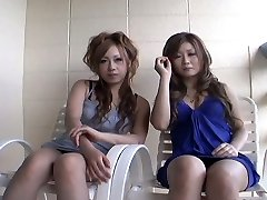 Two promiscuous Japanese chicks Yurina Shiho and Hibiki Mahiru gives a short interview before ravaging one another