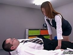 This Asian office slut is a control crank and she loves to 69