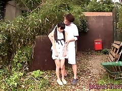 Tiny chinese babe fingerfucked outdoors