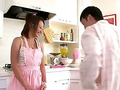 Cute Chinese babe loves to deep-throat cock in the kitchen