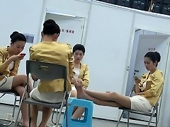Candid Asian Hostess Nylon Feet