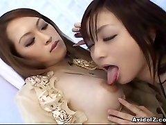 Japanese lesbians playing with fake penises