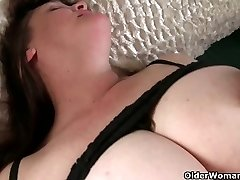 Busty grandma has to take care of her throbbing rock hard clit