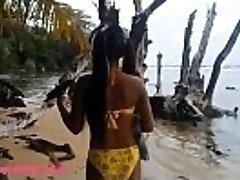 HD Ameteur Lil Thai Teenage Heather Deep day at the beach gives deepthroat Throatpie Drink