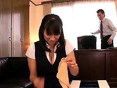 Asian mature Hana Haruna spanked on desk