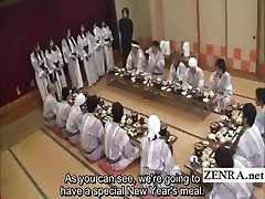 Subtitled Japanese mummies group foreplay dining party
