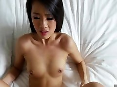 Asian pounded in the bed