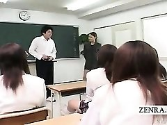 Subtitled CFNM Japanese classroom onanism show