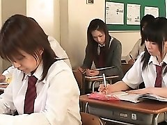 Asian school babe in ropes flashes beaver upskirt in class