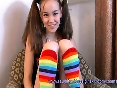Amai Liu in Pigtails and stockings gets penetrated POV