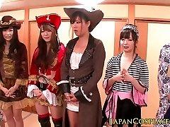 Japanese cosplay honies squirt in orgy