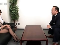 Japanese Pantyhose beauty with large bumpers gets a cumshot