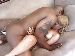 Blond ebony fucks horny guy