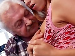 Sex lover granddad Gustavo fucking young pussy in porno casting