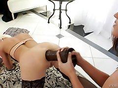 Mini-rosebud and gaping with Roxy Raye and her gf