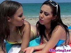 Lesbian bikini babe rimmed and scissored