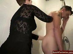 Gross Dutch Granny Smashes Office Boy