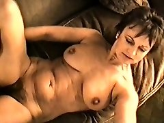 Yvonne's ginormous tits hard nipples and unshaved pussy