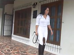 Mistress is Bull whipping  slave