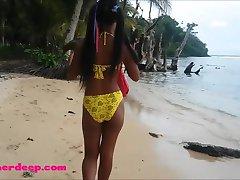 Ameteur Tiny Thai Teen Heather Deep day at the beach gives deepthroat