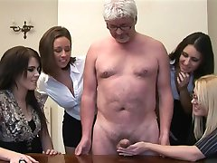 Women give handjob to a perv old man