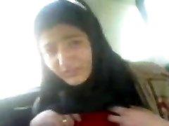 IRAN Hijab Doll Displays Off Tits in Car Get  Fur Covered Pussy MA