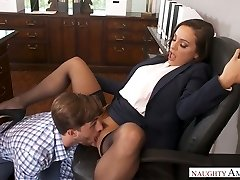 Attractive ladyboss Abigail Mac gets her honeypot munched and ravaged in the office