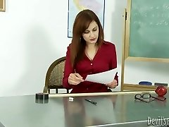 Horny teacher gives her dark-hued student the hottest blowage of his life
