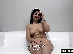 Steamy nubile casting with cum on tits