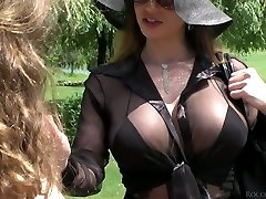 Lusty beauty Cathy Heaven and her Girlfriend enjoy anal threesome