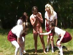 Cfnm schoolgirl sluts jerk off guy