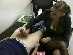 Lady boss masturbates her lazy employee to ignite him to work