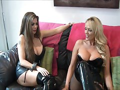 mistress and friend use slave
